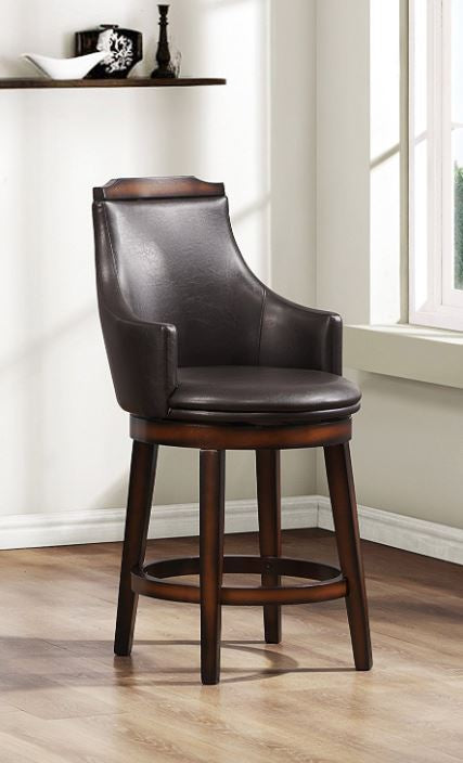 Wood & Leather Counter Height Bar Chair With Swivel Mechanism