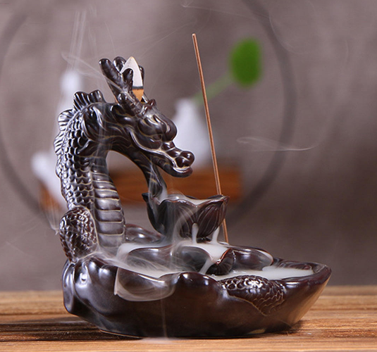 Ceramic Dragon Incense Cone Burner Holder Backflow Waterfall Effect Aromatherapy Ornament
