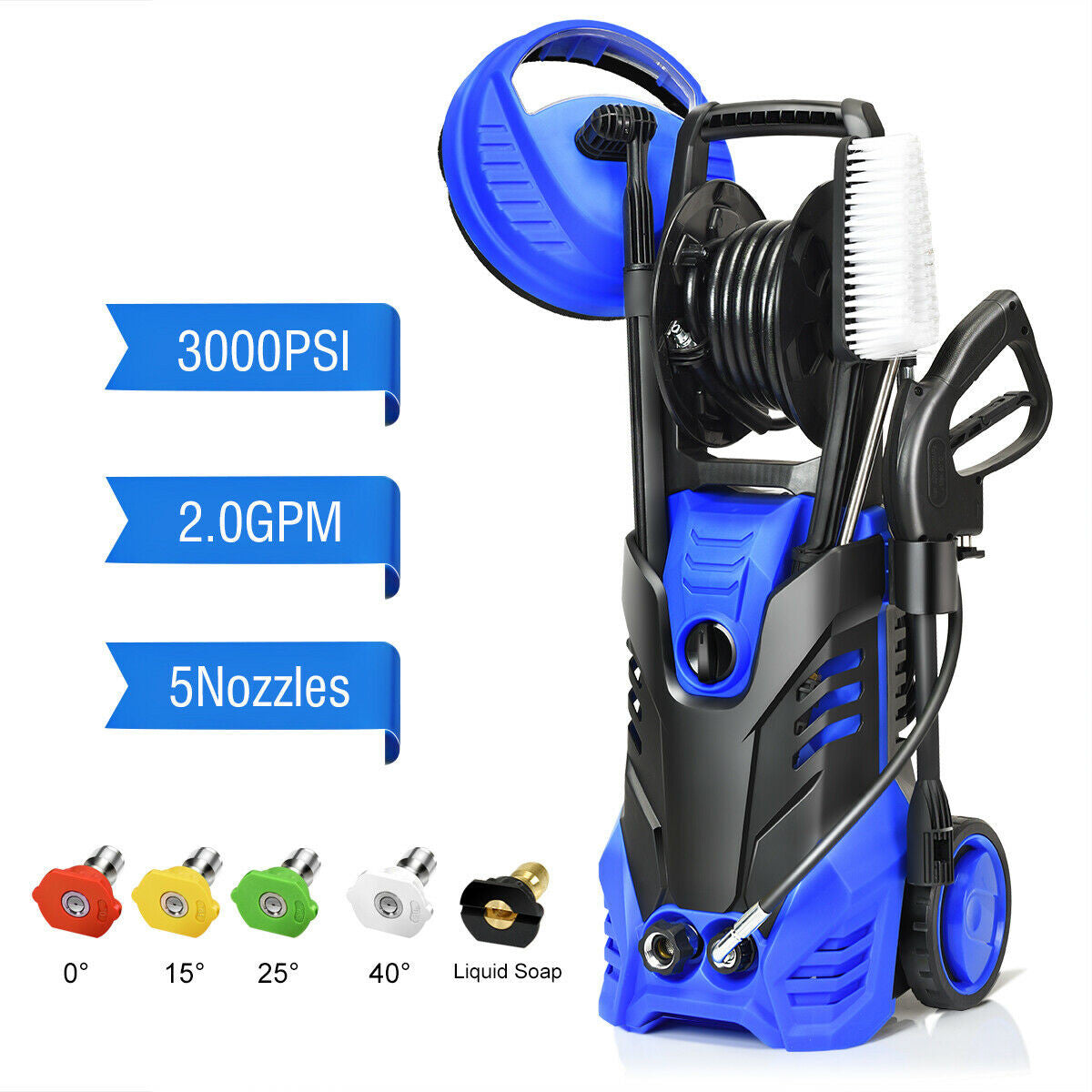 3000 PSI Portable Electric High Pressure Water Power Washer With Patio Cleaner