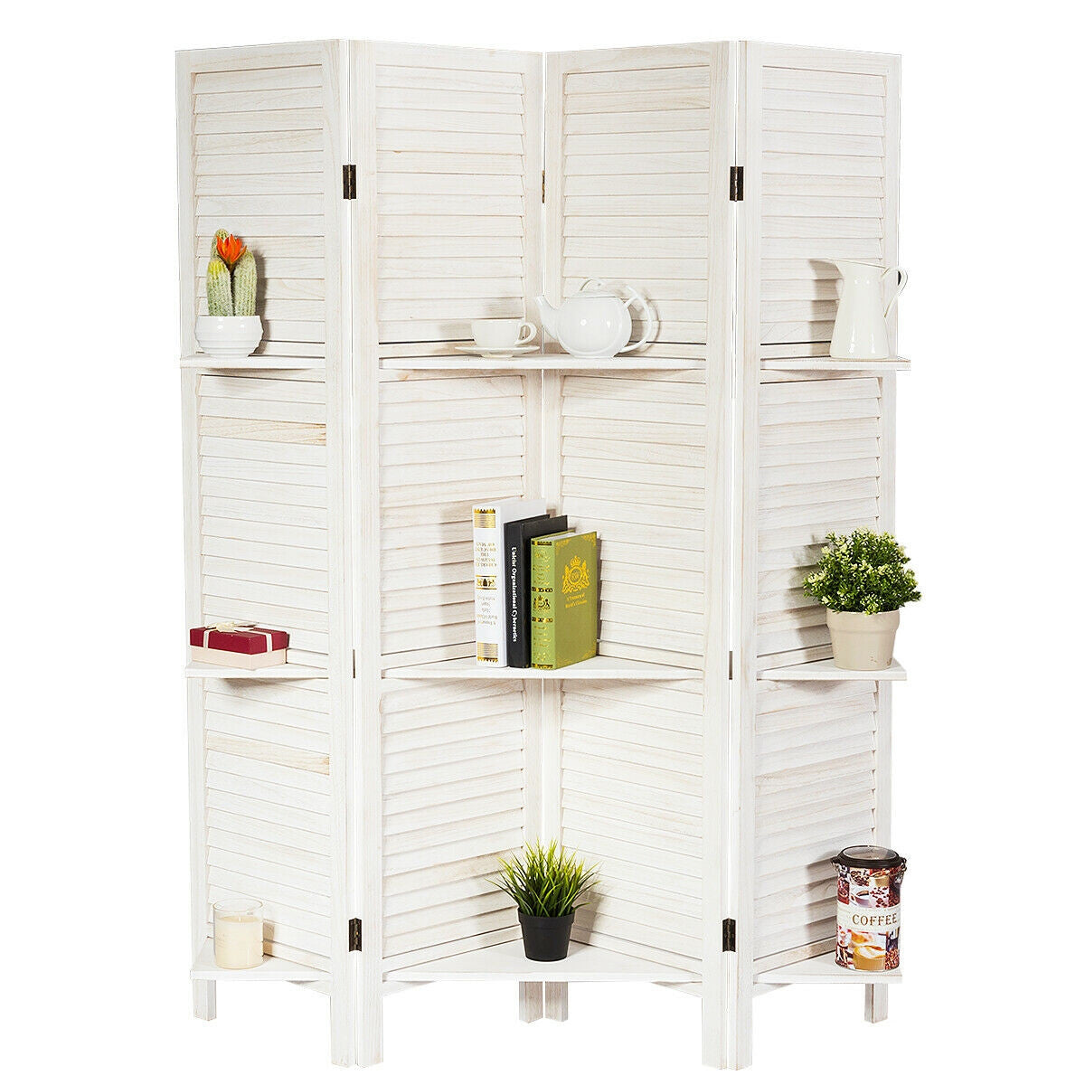 Room Divider 4 Panel Freestanding Folding Hinged Partition with Shelves