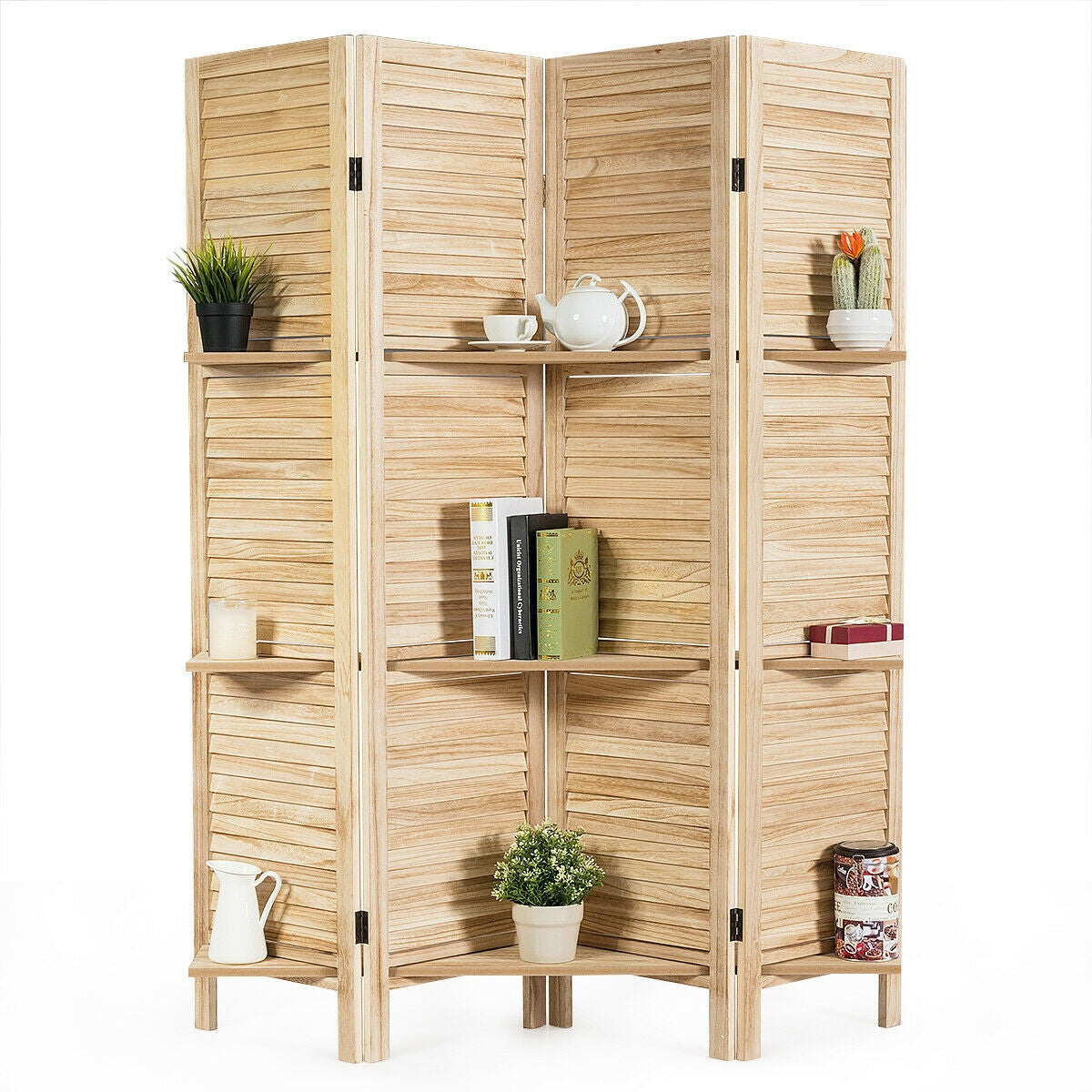 Dividz™ Room Divider 4 Panel Freestanding Folding Hinged Partition Privacy Screen with Shelves