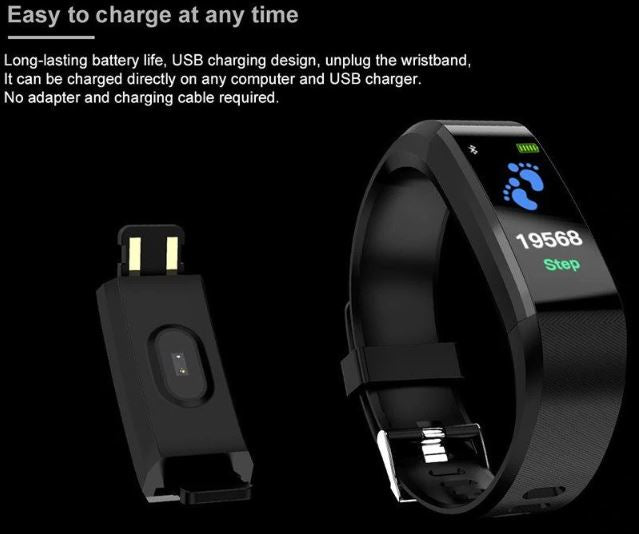 Fitness Activity Tracker Watch Heart Rate Monitor Waterproof Smart Bracelet