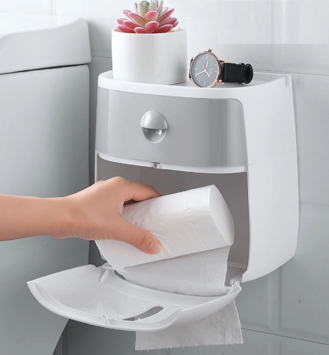 Plastic Toilet Paper Holder Bathroom Tissue Shelf Storage Box