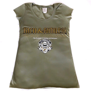 Rich & Ruthless PCF Ladies Tshirt (toupe green)