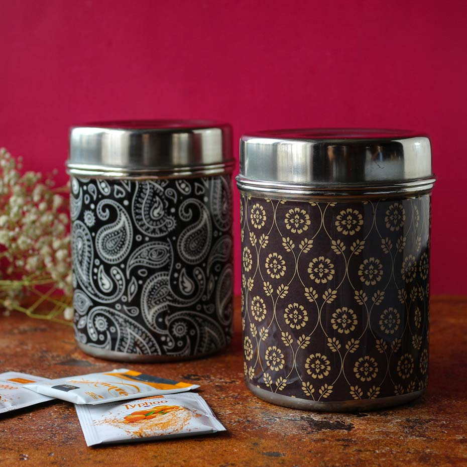Steel Printed Canisters - Set of 2