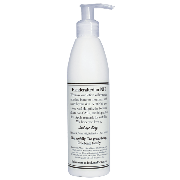 Moisturizing Shea Butter Lotion Handcrafted in NH for Dry, Sensitive Skin with Coconut Lemongrass