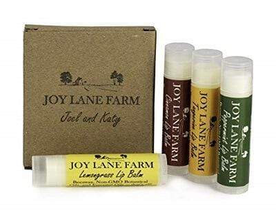 100% Natural Lip Balm variety pack made with essential oils and beeswax with natural spf