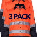 RITEMATE RM107V2R VENTED OPEN FRONT L/W L/S TAPED SHIRT 3 PK-HI VIS WORK SHIRTS-BOOTS CLOTHES SAFETY-ORAN/NAVY-SML-BOOTS CLOTHES SAFETY