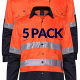 RITEMATE RM107V2R VENTED OPEN FRONT L/W L/S TAPED SHIRT 5PK-HI VIS WORK SHIRTS-BOOTS CLOTHES SAFETY-BOOTS CLOTHES SAFETY