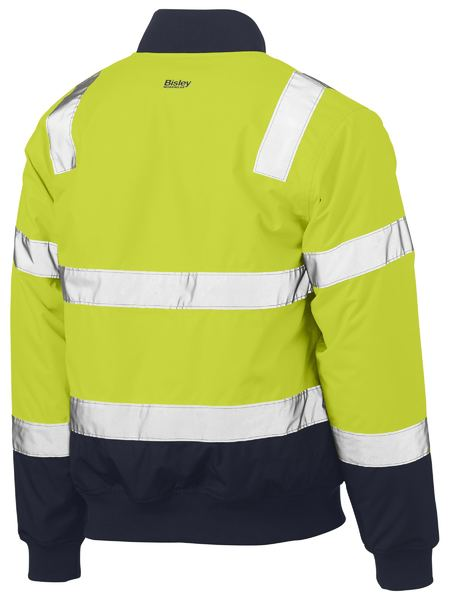 Bisley BJ6730T Taped Two Tone Hi Vis Bomber Jacket-HIVIS JACKET-THE BOOTS CLOTHES SAFETY STORE-BOOTS CLOTHES SAFETY