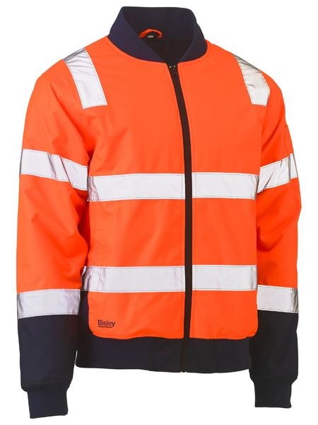 Bisley BJ6730T Taped Two Tone Hi Vis Bomber Jacket-HIVIS JACKET-THE BOOTS CLOTHES SAFETY STORE-ORAN/NAVY-SML-BOOTS CLOTHES SAFETY