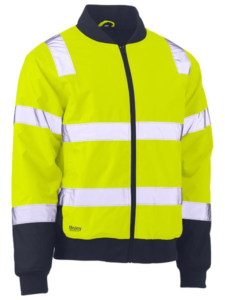 Bisley BJ6730T Taped Two Tone Hi Vis Bomber Jacket-HIVIS JACKET-THE BOOTS CLOTHES SAFETY STORE-YELL/NAVY-SML-BOOTS CLOTHES SAFETY