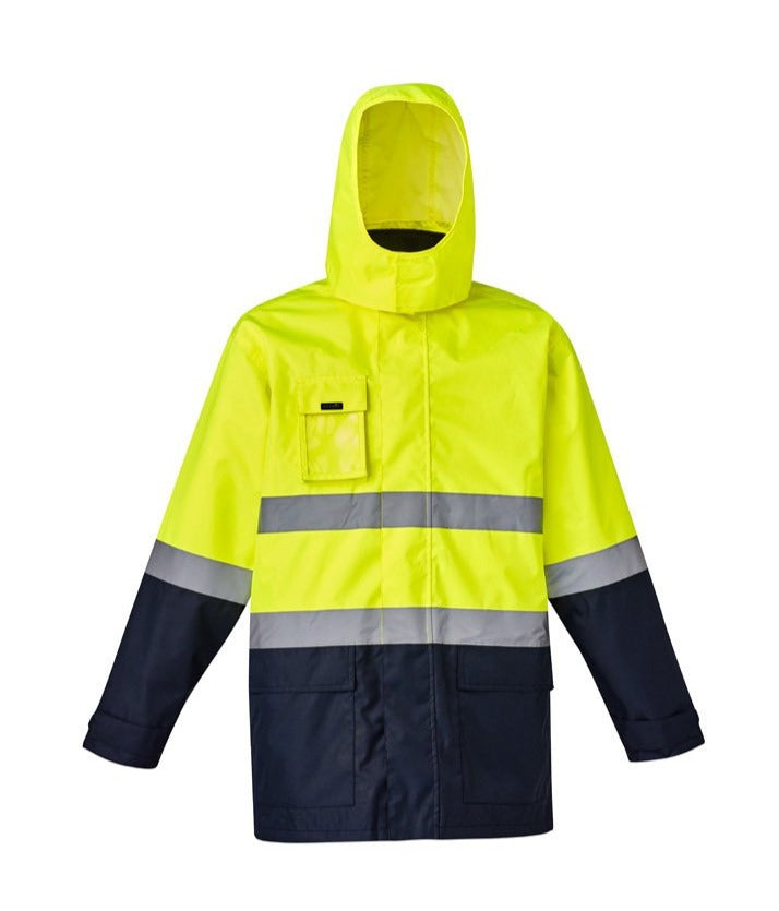 SYZMIK ZJ220 HIVIS 4 IN 1 WATERPROOF JACKET-HI VIS RAINWEAR-BOOTS CLOTHES SAFETY-YELL/NAVY-SML-BOOTS CLOTHES SAFETY