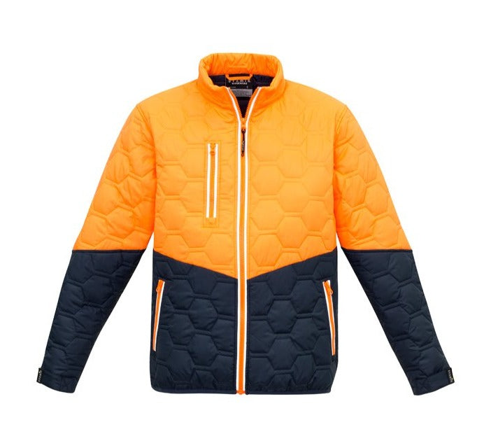 SYZMIK ZJ420 UNISEX HEXAGONAL PUFFER JACKET-HIVIS JACKET-BOOTS CLOTHES SAFETY-ORAN/NAVY-XSM-BOOTS CLOTHES SAFETY
