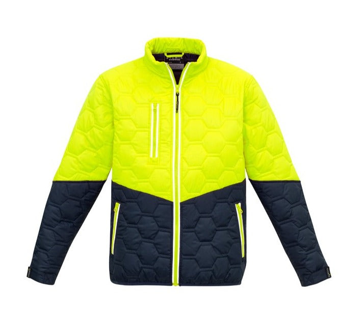SYZMIK ZJ420 UNISEX HEXAGONAL PUFFER JACKET-HIVIS JACKET-THE BOOTS CLOTHES SAFETY STORE-YELL/NAVY-XSM-BOOTS CLOTHES SAFETY