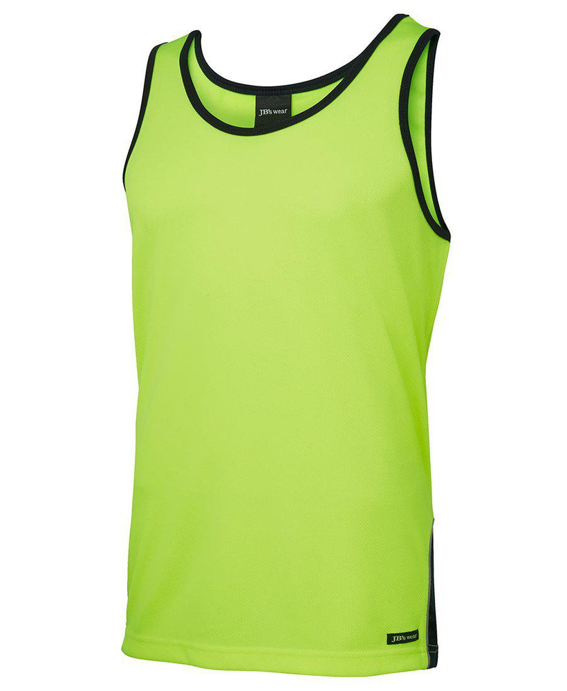 JB'S 6HCS4 HI VIS CONTRAST SINGLET-HI VIS SINGLET-BOOTS CLOTHES SAFETY-YELL/NAVY-SML-BOOTS CLOTHES SAFETY