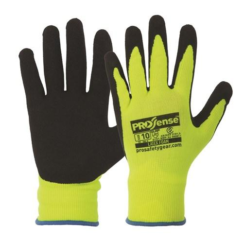 PRO LFN HI VIS LATEX FOAM GLOVES