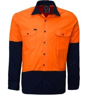 RITEMATE RM1050 2 TONE OPEN FRONT HI VIS L/S SHIRT-HI VIS WORK SHIRTS-BOOTS CLOTHES SAFETY-ORAN/NAVY-SML-BOOTS CLOTHES SAFETY