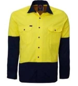 RITEMATE RM1050 OPEN FRONT 2 TONE HI VIS L/S SHIRT-HI VIS WORK SHIRTS-BOOTS CLOTHES SAFETY-YELLOW/NAVY-SML-BOOTS CLOTHES SAFETY