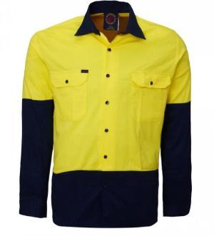 RITEMATE RM107V2 HI VIS VENTED L/W L/S SHIRT-HI VIS WORK SHIRTS-BOOTS CLOTHES SAFETY-YELL/NAVY-SML-BOOTS CLOTHES SAFETY