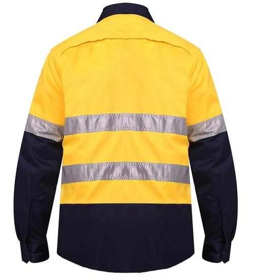 RITEMATE RM107V2R VENTED OPEN FRONT L/W L/S TAPED SHIRT-HI VIS WORK SHIRTS-BOOTS CLOTHES SAFETY-BOOTS CLOTHES SAFETY