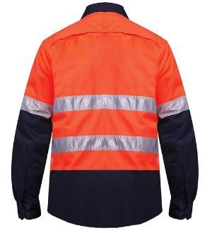 RITEMATE RM107V2R VENTED OPEN FRONT L/W L/S TAPED SHIRT 3 PK-HI VIS WORK SHIRTS-BOOTS CLOTHES SAFETY-BOOTS CLOTHES SAFETY