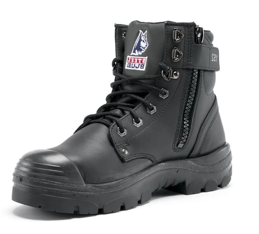 STEEL BLUE 332152 ARGYLE LACE UP BOOT- ZIP & BUMP CAP-WORK BOOT-BOOTS CLOTHES SAFETY-BLACK-6AU-BOOTS CLOTHES SAFETY