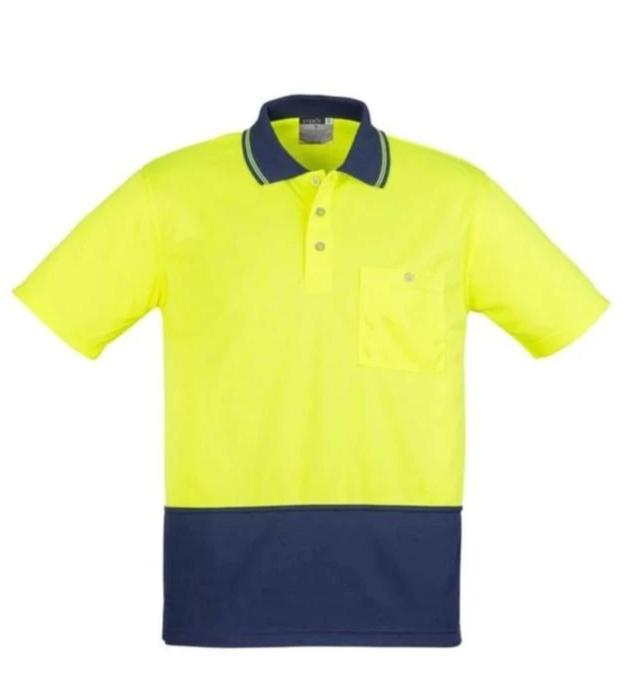 SYZMIK ZH231 UNISEX HI VIS 2 TONE POLO S/S-HI VIS POLO-BOOTS CLOTHES SAFETY-YELL/NAVY-SML-BOOTS CLOTHES SAFETY