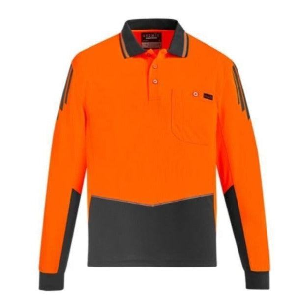 SYZMIK ZH310 UNISEX HI VIS 2 TONE POLO L/S-HI VIS POLO-BOOTS CLOTHES SAFETY-ORAN/CHAR-SML-BOOTS CLOTHES SAFETY