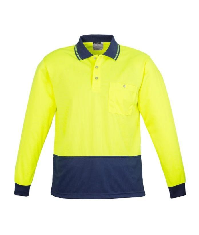 SYZMIK ZH232 UNISEX HI VIS 2 TONE POLO L/S-HI VIS POLO-BOOTS CLOTHES SAFETY-YELL/NAVY-SML-BOOTS CLOTHES SAFETY