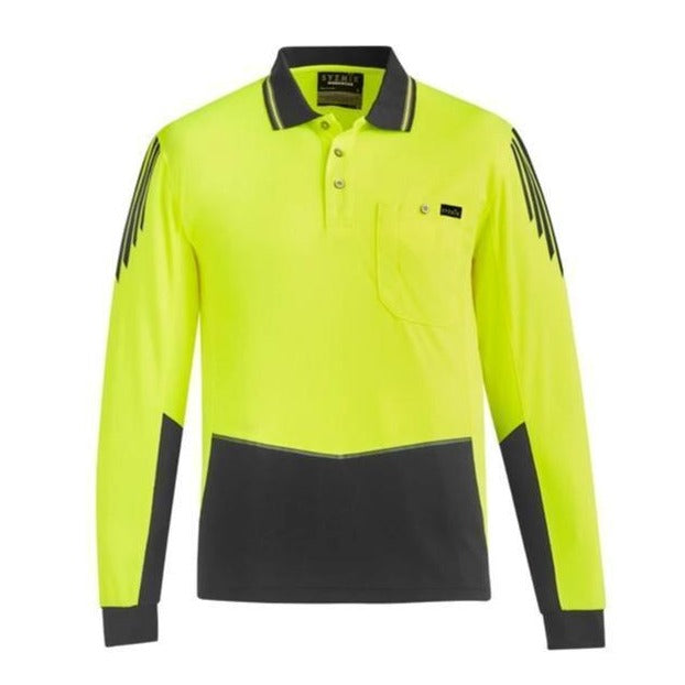 SYZMIK ZH310 HI VIS FLUX POLO L/S-HI VIS POLO-BOOTS CLOTHES SAFETY-YELL/CHAR-SML-BOOTS CLOTHES SAFETY