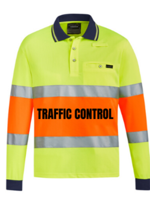 SYZMIK ZH380TC UNISEX BIO MOTION POLO TRAFFIC CONTROL-HI VIS POLO-BOOTS CLOTHES SAFETY-YELL/ORAN-SML-BOOTS CLOTHES SAFETY