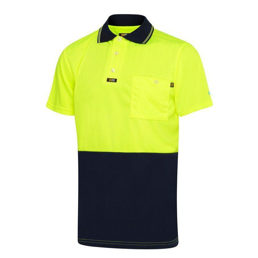 VISITEC AIRWEAR HI VIS POLO S/S-HI VIS POLO-BOOTS CLOTHES SAFETY-YELL/NAVY-SML-BOOTS CLOTHES SAFETY