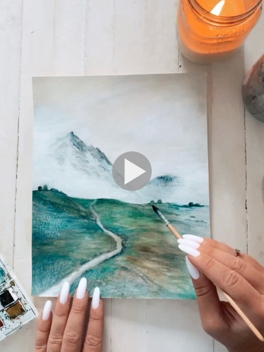 Watercolor Process - Glacier Mountain Peak