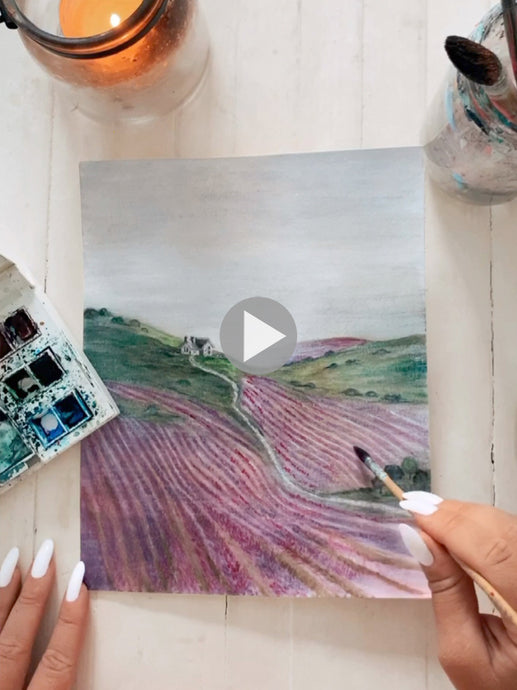 Watercolor Process- Rolling Hills Of Lavender Painting