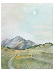Daytime Mountain And Moon -  Watercolor Landscape