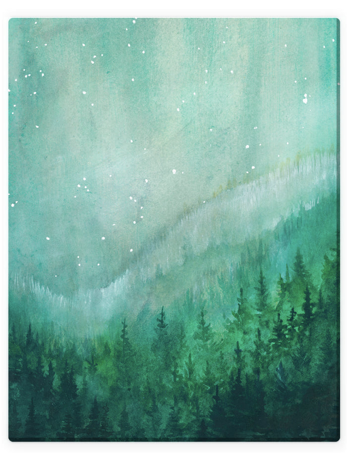 Starry Night Valley -  Watercolor Landscape