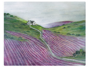 Rolling Hills Of Lavender - Watercolor Landscape