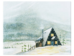 A-Frame Cabin Winter Wonderland -  Watercolor Landscape