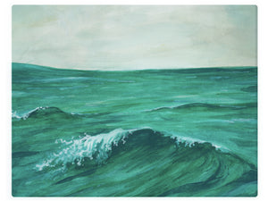 Ocean Wave With Clear Skies -  Watercolor Landscape