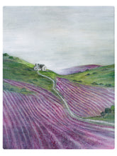 Load image into Gallery viewer, Rolling Hills Of Lavender - Watercolor Landscape
