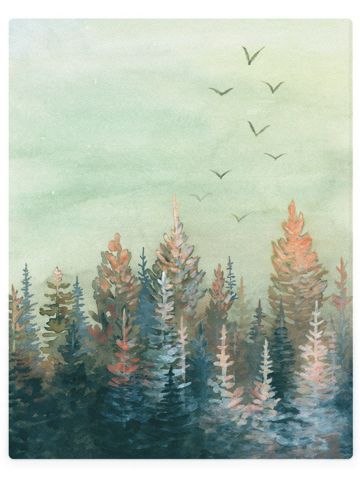 Sunset Over Pine Forest-  Watercolor Landscape