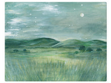 Load image into Gallery viewer, Prairie Mountain by Moonlight - Watercolor Landscape