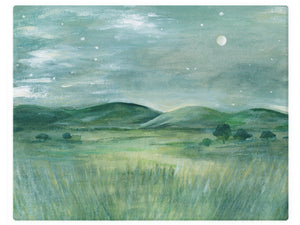 Prairie Mountain by Moonlight - Watercolor Landscape