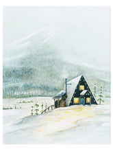 Load image into Gallery viewer, A-Frame Cabin Winter Wonderland -  Watercolor Landscape
