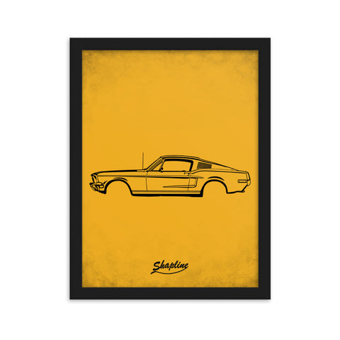 Framed poster Ford mustang 68 orange