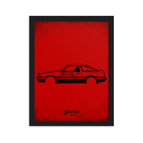 Framed poster Toyota AE86 red