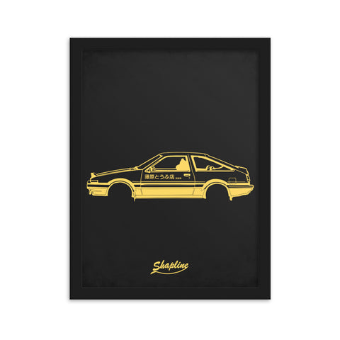 Framed poster Toyota AE86 dark gray