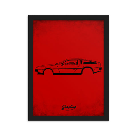 Affiche encadrée Delorean DMC-12 rouge