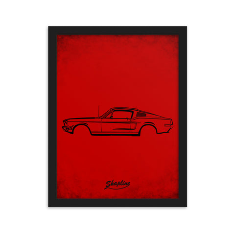 Framed poster Ford mustang 68 red